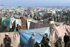 Afghan refugees living in tentage village in Islamabad