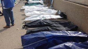 Bodies in bags at Lampedusa, Italy